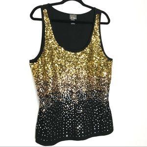 Dots Black Ombre Sequin Knit Tank Top Gorgeous